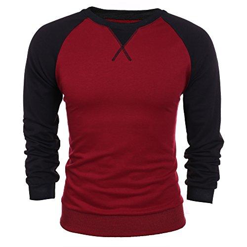 Coofandy Men's Raglan Baseball T-Shirt Sweat Shirt Casual Cotton (Casual Long Sleeved T-shirt)