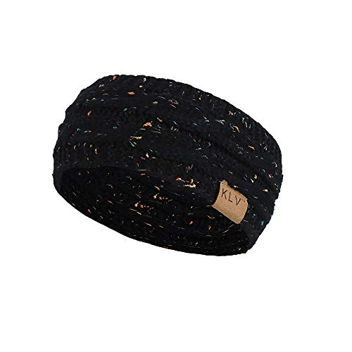 (Jiusike Women Knit Elastic Sport Hair Band Soft Stretch Dotted Yarn Turban Hat)