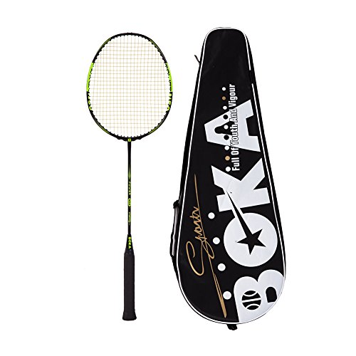 MytopOne Full carbon Single High-grade Badminton Racquet,Badminton Racket,Including Badminton Bag (Black)