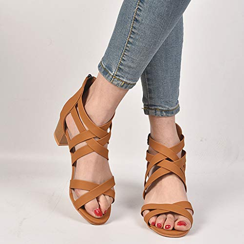 CCOOfhhc Womens Gladiator Open Toe Heeled Sandals Criss Cross Strap Ankle Wrap Zipper Sandals Summer Beach Thongs Sandals Brown by CCOOfhhc (Image #3)