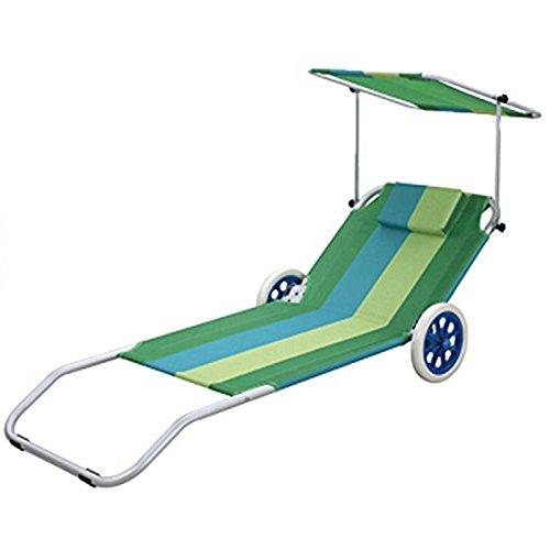 GEEZY Foldable Beach Chair on Wheels Adjustable Backrest Canopy Sunshade...