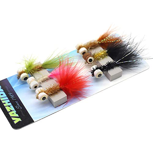 (YZD Fly Fishing Big Fish Flies Kit Top 5 Steelhead Rainbow Trout Flies Flyfishing Gear Premium Wet Dry Flies Lures Streamer Nymph Emerger Fishing Assorted Trout Flies (NZF-01))