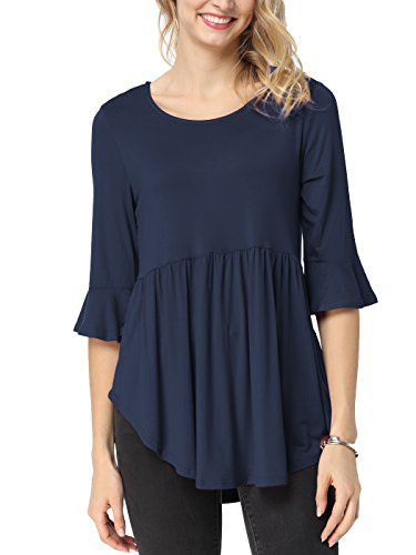 TongKiKi Women's Casual Scoop Neck Half Ruffle Sleeve Floral Tops Tunic,Navy Blue,S