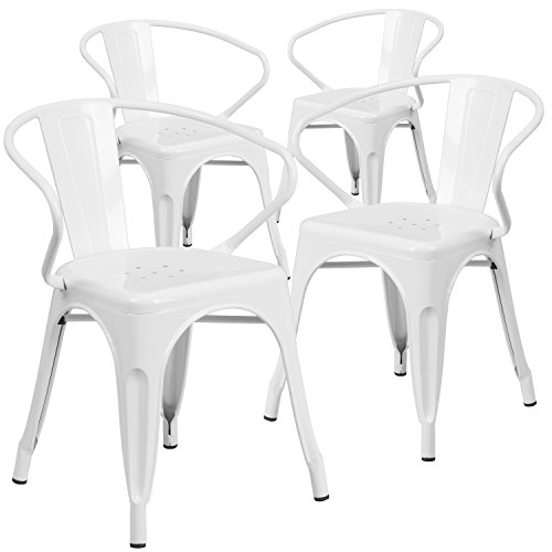 Flash Furniture 4 Pk. White Metal Indoor-Outdoor Chair with Arms - White Cap Plastic Drain