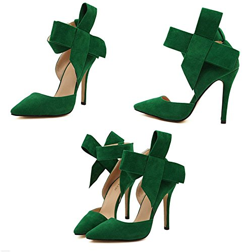 Manyis Fashion Lady Point-Toe Suede High Heel Womens Shoes With Big Bowknot US 5 Green in6gucqWt