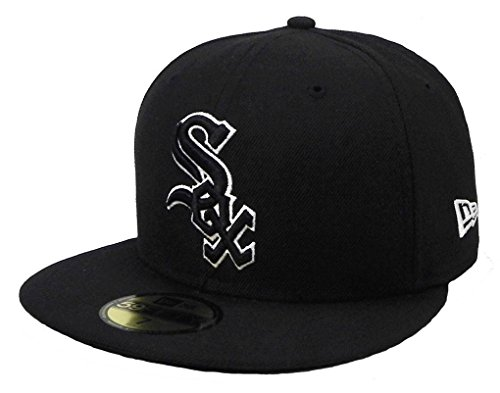 - New Era 59fifty Hat Chicago White Sox Black White Cap Men's Sizes (7 1/2)