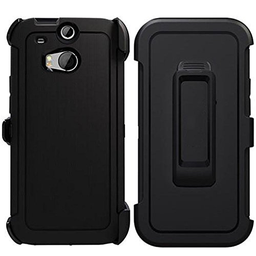 For HTC One M8 Case, [Heavy Duty] [Drop Protection] [Shockproof] Tough Rugged TPU Hybrid Hard Shell Cover Case Impact Screen Protector for HTC M8 Black (Htc One M8 Otter Box Clip)