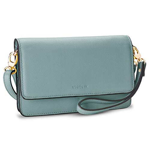 - Womens Small Crossbody Bags Leather Purses and Handbags Wristlet Wallet with Phone Pocket and Card Slots, Green