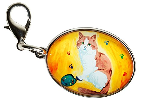 Cat Zipper Pull, Bag Charm -Animal- Yes, Salvador Really Does Paint! (Paw in the Paint - Cat)