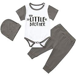 YKARITIANNA Newborn Infant Kids Baby Boys Outfits Letter Print Romper Jumpsuit+Pants+Hat Set Gray