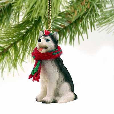 Siberian Husky Black and White with Blue Eyes Miniature Ornament (Figurine Siberian White Husky)