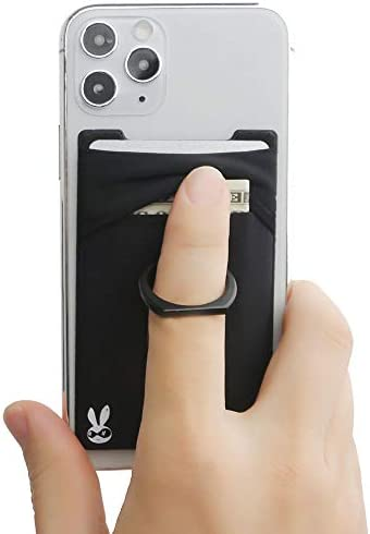 Phone Card Holder RFID Pu Leather Back Ring Wallet Stick-On Pull 5 Pocket Credit Cash for All Smartphones