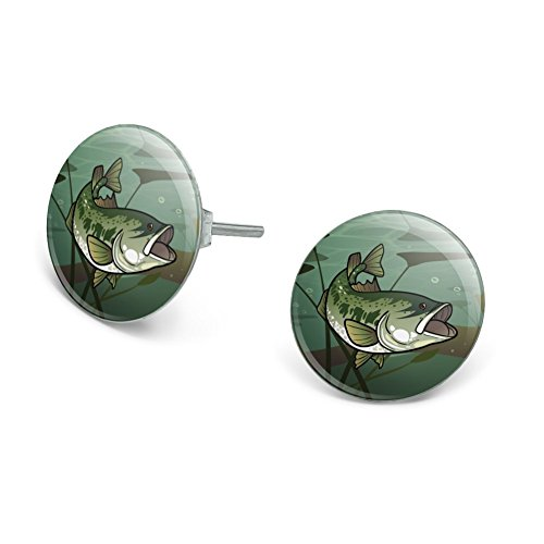 GRAPHICS & MORE Bass Fish Swimming in River Novelty Silver Plated Stud -