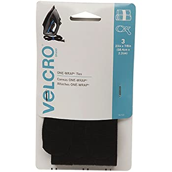 """VELCRO Brand - ONE-WRAP For Cables, Wires & Cords - 23"""" x 7/8"""" Ties, 3 Ct. - Black"""