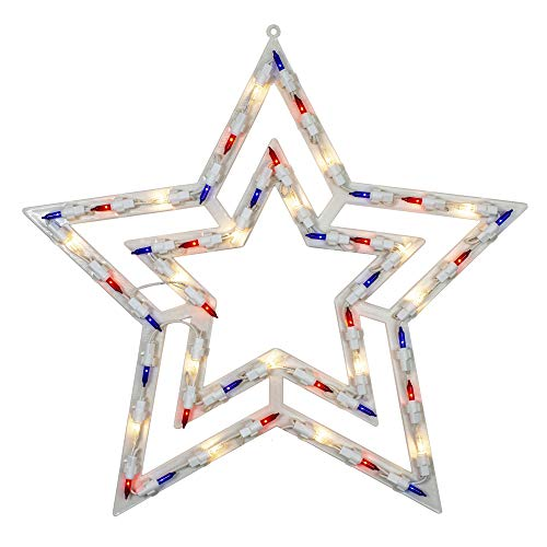 """Northlight 17"""" Lighted Red, White and Blue Patriotic Star Window Silhouette Decoration"""