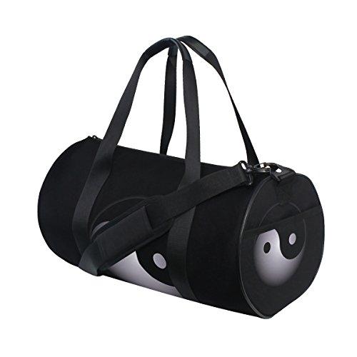 AHOMY Black And White Yin Yang Fashion Sports Gym Bag Travel Duffel Bag with shoulder strap Yin Yang Bag