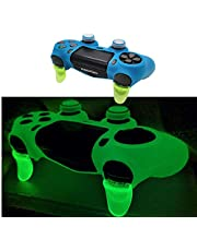 Ps4 Controller Skin Silicone Case Grip Glow in Dark Protective Cover for PS4/slim/Pro Dualshock 4 Controller (Blue)