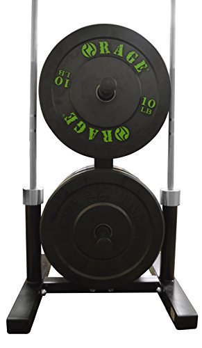 "RAGE Fitness Olympic Weight Plate Rack and Barbell Holder, holds 2 barbells up to 2"" in Diameter , Bumper Tree Stand"