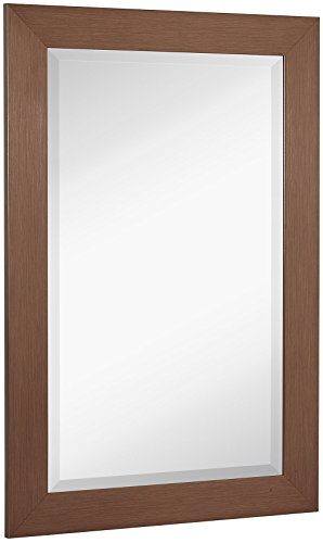 NEW Bronze Copper Modern Metallic Look Rectangle Wall Mirror | Brushed Metal Appearance | Contemporary Simple Design Beveled Glass Vanity, Bedroom, or Bathroom | Hanging Horizontal or - Frames Mirror Copper