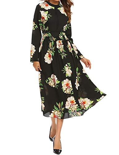 SE MIU Womens Vintage Empire Floral Print Long Sleeve Cocktail Party Boho Maxi Dress