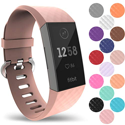 Yousave Accessories Fitbit Charge 3 Bands, Replacement Silicone Fitbit Charge 3 Band, Sport Wrist Strap for The Fitbit Charge 3 - Large - Rose Gold