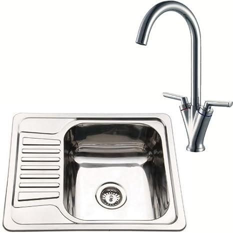 Piccolo lavandino da cucina reversibile in acciaio inox con lavello ...