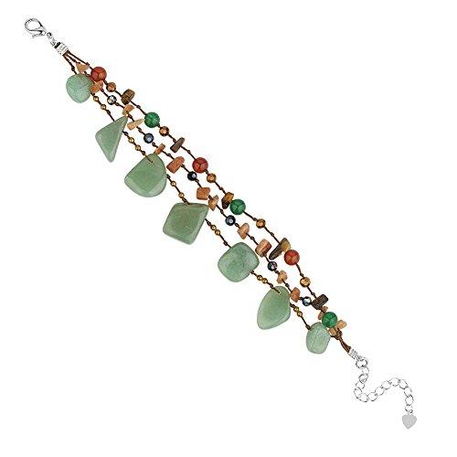 Zinc Brass Metallic Yarn Aventurine Carnelian Gemstone & Crystal Glass Beaded Bracelet, 7.5-9.5