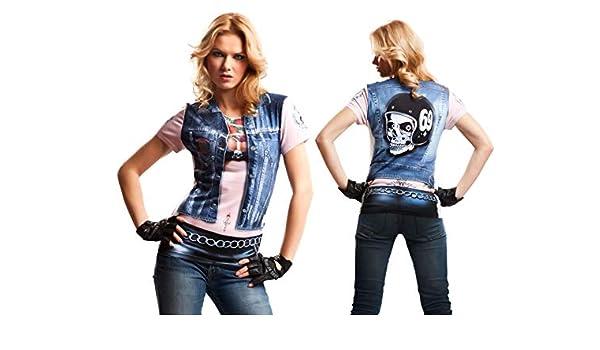 Disfraz Camiseta de Motero Original de Carnaval para Mujer L de ...