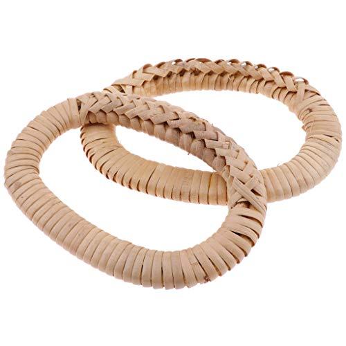 (CUTICATE 2pcs Wooden Purse/Clutch Bag/Handbag Handle, Rattan Weave Craft, Handmade Bag Making Accessories)