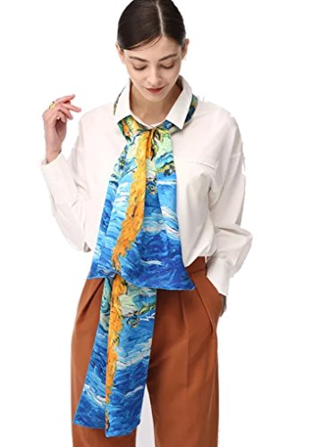 - Jeelow 100% Silk Scarf Charmeuse Oblong 16momme With Hand Rolled Edge Real Silk Scarves For Hair Wrapping (Monet blue)
