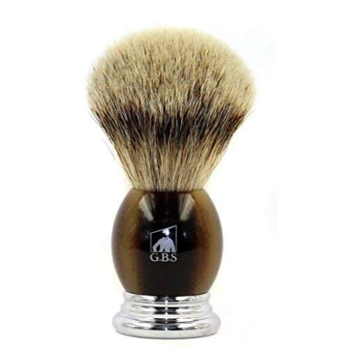 GBS 100% Silvertip Badger Bristle Shaving Brush Light Horn Color with Free St.