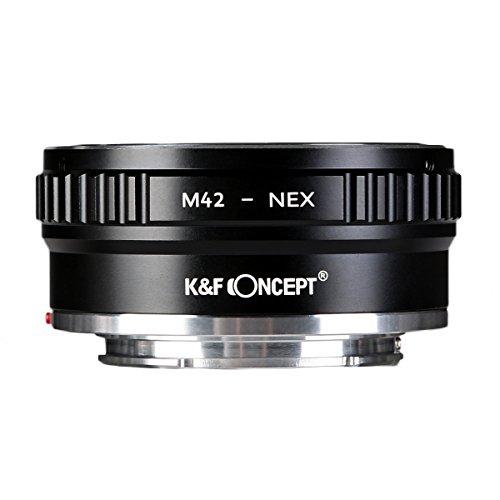 K&F Concept Lens Mount Adapter M42 to NEX â…¡ Copper Adapter Compatible M42 Screw Mount Lens Sony NEX Camera Black