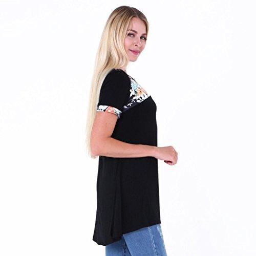 HARRYSTORE 2017 Camiseta floja ocasional de la blusa de las tapas de las camisetas de la impresión del cuello del verano O de las señoras del verano de la manera Negro