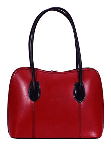 Bag amp; Style Classic Red Shoulder Grab Leather Shiny or Smooth Bag Italian Tote Black Rwcq7vvg