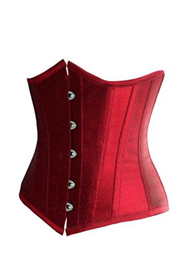 ZAMME Underbust de las mujeres Cintura de Steampunk Cincher Bustiers que adelgaza el corsé del control de la cintura Rojo