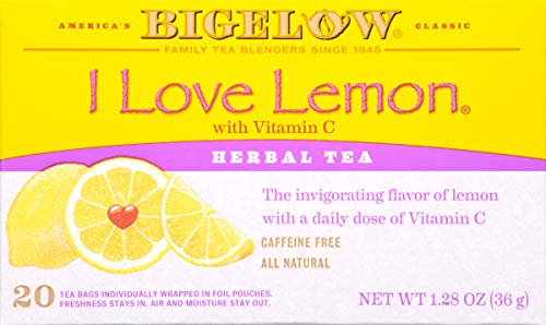 Bigelow I Love Lemon Herbal Tea Bags 20-Count Boxes (Pack of 6), 120 Tea Bags Total.  Caffeine-Free Individual Herbal Tisane Bags, for Hot Tea or Iced Tea, Drink Plain or Sweetened with Honey or Sugar