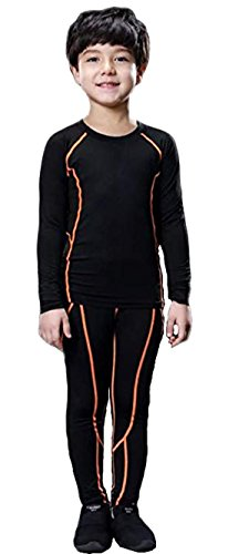 Kids Base Layer Set Compression Long Sleeve Shirts and Pants Underwear Top Athletic Leggings for Boys