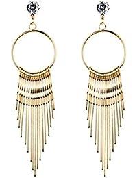 Fashion Jewelry Bohemian Style Tassel Simple Liner Round Hoop Dangle Earrings for Women