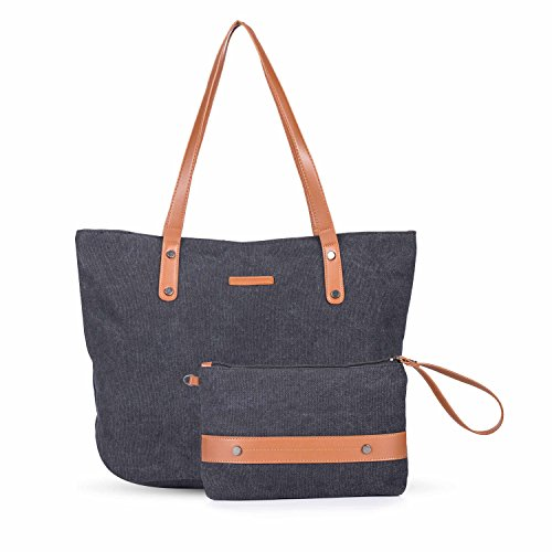 Women's Large Canvas Tote Bag Casual Handbag Travel Shoulder Bag with Small Coin Purse Wristlet for Ladies (Small Shoulder Tote Bag)