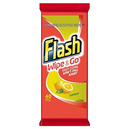 Flash Wipe & Go de limpieza Toallitas mediterránea Limón 40 Count (paquete de 10 x
