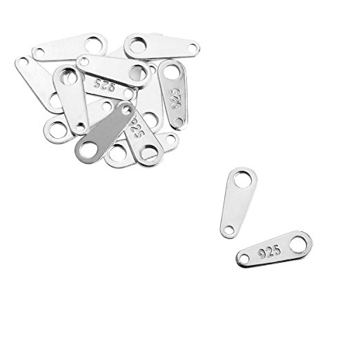 HooAMI 925 Stamped Sterling Silver Pendant Charm Link Connector Findings 8x3mm - 15pcs