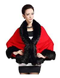 Tonwhar Womens Vintage Cloak Style Cape Shawl Stole with Faux Fur Trim