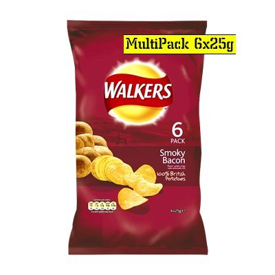 - Walkers Smokey Bacon Crisps 6 Pack 150g