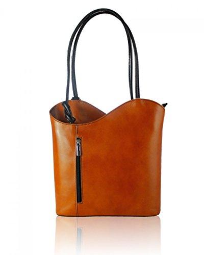 Real BLACK Hand BackPack TAN Leather Made Handbag RF Shoulder Italian LeahWard or Womens qR1Iwxa7nE