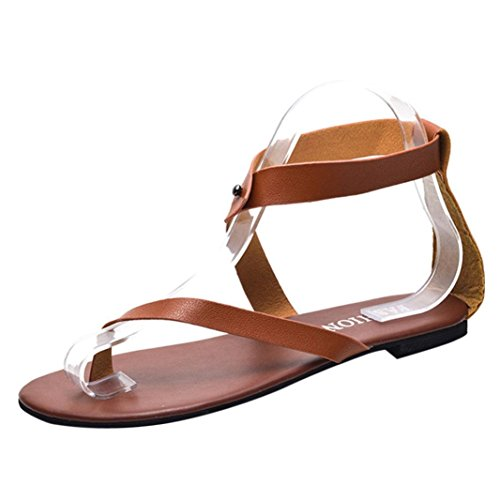 IGEMY Women Sandals, Summer Women Ladies Sandals Strap Flat Ankle Roman Cusual Shoes Thong Footwear Brown