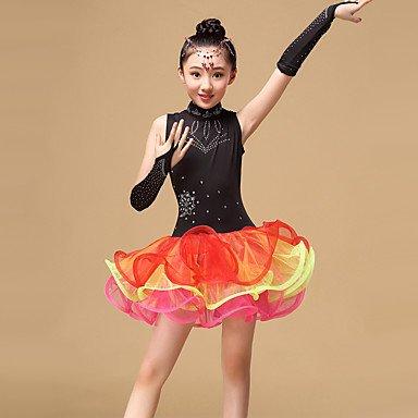 Dancewear Latintanz-Kleider(Schwarz Grün   Orange,Tüll,Latintanz) - fürKinder Handschuhe Kleid B073FCX2N5 Bekleidung Qualitätsprodukte