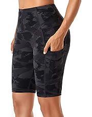 Oalka Women's Short Yoga Side Pockets High Waist Workout Running Shorts