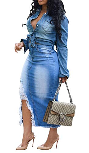 LKOUS Womens Casual Distressed Ripped Denim Jean High Waisted Pencil Long Skirt Blue