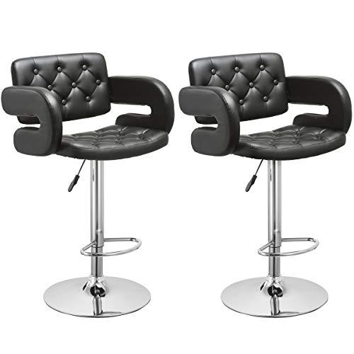 COSTWAY Swivel Bar Stools Leather Hydraulic Pub Chair Adjustable, Set of 2 Black