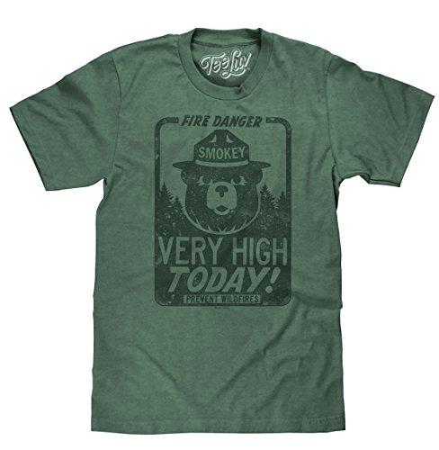 Tee Luv Smokey Bear Shirt - Fire Danger Very High Today Tri Blend T-Shirt (X-Large)
